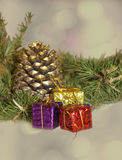 Christmas pine cones. And toys Royalty Free Stock Photography
