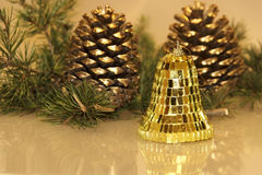Christmas pine cones. And toys Royalty Free Stock Photos