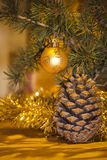 Christmas pine cones. And toys Stock Photography