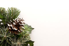Christmas pine cones wreath. Frosty Christmas pine cones wreath on white background with copy space Stock Images