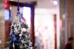 Christmas pine decorated , blurred background Stock Images