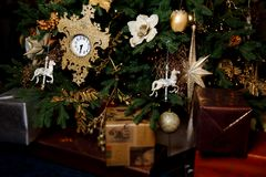 Christmas pine decorated with toys Royalty Free Stock Photos