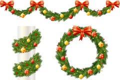 Christmas pine decorations stock illustration