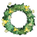 Christmas pine decorative wreath. Watercolor and ink sketch. royalty free illustration