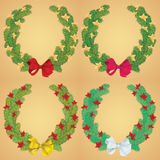 Christmas pine garland decorated with red and golden stars. Vector Royalty Free Stock Image
