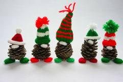 Christmas pine gnome, Xmas pinecone, gift Royalty Free Stock Photography