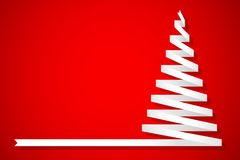 Christmas pine made from ribbon on red background. Holiday concept Stock Photos