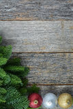 Christmas Pine Needle and Ornaments Stock Photos