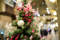 Christmas pine in trading floor. Decorated festive Christmas pine in trading floor Stock Images