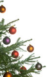Christmas pine-tree. Christmas border of pine-tree with ornaments on white background Stock Images