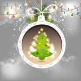 Christmas pine tree with ball Stock Photos