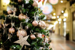 Christmas pine tree with balls Royalty Free Stock Photo