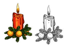 Christmas pine tree bow, candle isolated sketch Stock Images