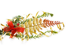 Christmas pine tree branch and decoration. Celebrating Christmas with traditional pine tree branch and red ribbon decoration. Isolated on white background stock image