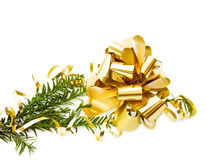 Christmas pine tree branch with decorations royalty free stock image