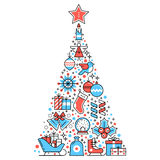 Christmas pine tree composed of new year icons Stock Image