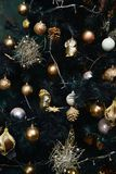 Christmas pine-tree decorated with balls. Christmas pine-tree decorated with golden balls Royalty Free Stock Photos