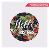 Christmas Pine Tree and Flowers Graphic Design - Vintage Winter Royalty Free Stock Photography