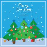 Christmas pine tree hang element. This illustration is design and drawing Christmas with tree hang elements in blue color frame background Royalty Free Stock Images