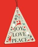 Christmas pine tree hang tag Stock Photo