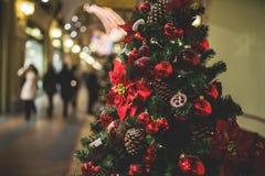 Christmas pine tree in lobby Royalty Free Stock Photo