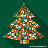 Christmas pine tree. Merry christmas and happy newy year icons in pine tree shape vector illustration Royalty Free Stock Photos