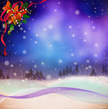 Christmas with pine tree and snow and ribbon Royalty Free Stock Photos