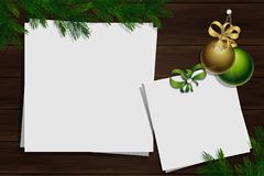 Christmas pine twigs and spruce branches. Winter mockup vector illustration