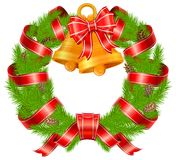 Christmas pine wreath with bells Stock Photos