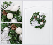 Christmas pine wreath collage Royalty Free Stock Photos