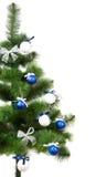 Christmas pine with xmas tinsel Royalty Free Stock Image