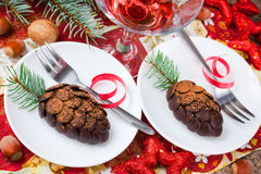 Christmas pinecone chocolate cake. On festive decorated table Royalty Free Stock Photography