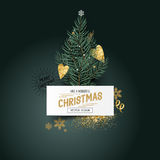 Christmas Pines and Decorations. Christmas Pines and Decor. Xmas tree leaves with a label sign and seasonal decorations - vector illustration Royalty Free Stock Photos