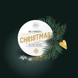 Christmas Pines and Decorations. Christmas Pines and Decor. Xmas tree leaves with a label sign and seasonal decorations - vector illustration Stock Images