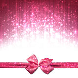 Christmas pink abstract background. Pink winter abstract background. Christmas background with ribbon and bow. Vector Royalty Free Stock Images
