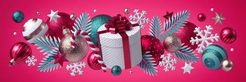 Free Christmas Pink Background, Festive Horizontal Border. Round Gift Box. Mixed Ornaments, Blue Silver Glass Balls, Stars, Snowflakes Stock Photo - 199142350