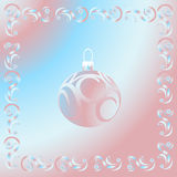 Christmas pink ball. And pink-blue pattern background. Vector Stock Photography