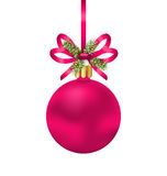 Christmas Pink Ball with Bow Ribbon and Fir Twigs. Illustration Christmas Pink Ball with Bow Ribbon and Fir Twigs, Isolated on White Background - Vector Stock Images