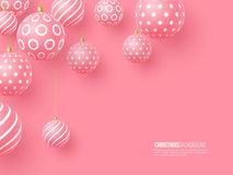 Christmas pink baubles with geometric pattern. 3d realistic style, abstract holiday background, vector illustration. Christmas pink baubles with geometric stock illustration