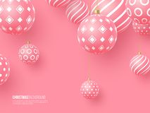 Christmas pink baubles with geometric pattern. 3d realistic style, abstract holiday background, vector illustration. Christmas pink baubles with geometric vector illustration