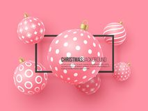 Christmas pink baubles with geometric pattern. 3d realistic style with black frame, abstract holiday background, vector. Christmas pink baubles with geometric vector illustration