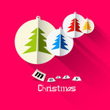 Christmas Pink Card with Merry Christmas Title Royalty Free Stock Photo
