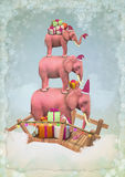 Christmas pink elephants in the sky with gifts. Three Christmas pink elephants in the sky with gifts and snowflakes. Illustration royalty free illustration