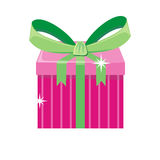 Christmas Pink Gift Box with Green Bow Royalty Free Stock Image