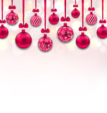 Christmas Pink Glassy Balls with Bow Ribbon. Illustration Christmas Pink Glassy Balls with Bow Ribbon, Glitter Background - Vector Royalty Free Stock Photo
