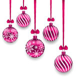 Christmas Pink Glassy Balls with Bow Ribbon Royalty Free Stock Image