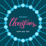Christmas pink  hand lettering on holidays blue background. Christmas pink  hand lettering on holidays blue background with balls. Vector greeting  card Royalty Free Stock Images