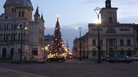 Christmas Piotrkowska Street in Lodz, Poland 4k stock video footage