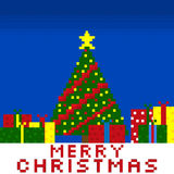 Christmas pixel art gift card Royalty Free Stock Photos