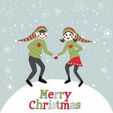Christmas Pixies Elves dancing in the snow Royalty Free Stock Image